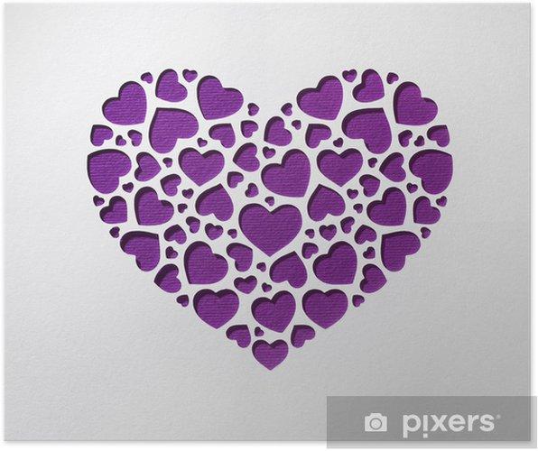 Poster Valentinstag Herz Aus Kleinen Herzen Auf Papier Karte Gemacht