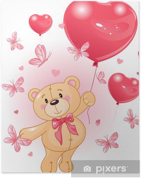 Poster Valentinstag Teddy - Für Kindergartenkind