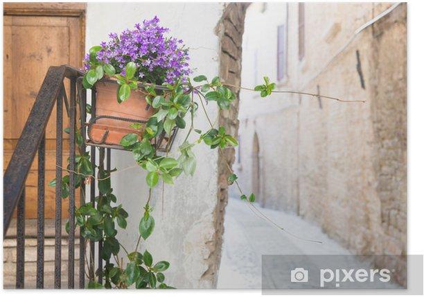 Poster Vase mit Blumen in der Gasse - Haus und Garten
