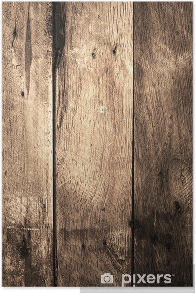 Poster Vecchia Struttura In Legno Di Sfondo Grunge Legno Rovere Marrone Con Texture