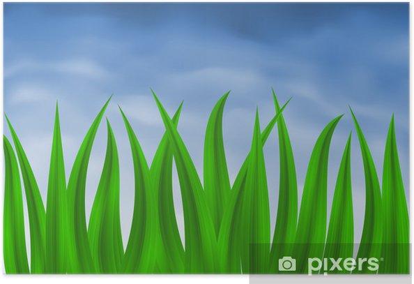 Poster Vector Bild der grünen Gras über blauen Verlaufsgitter Himmel - Jahreszeiten