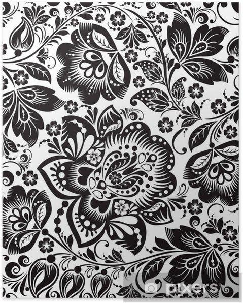 Poster Vector Floral Background Russische Traditionelle Verzierung