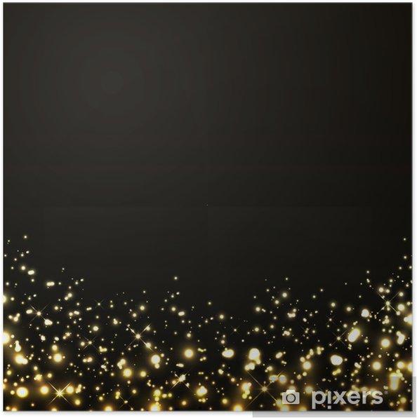 Poster Vector Lusso Sfondo Nero Con Luci Doro