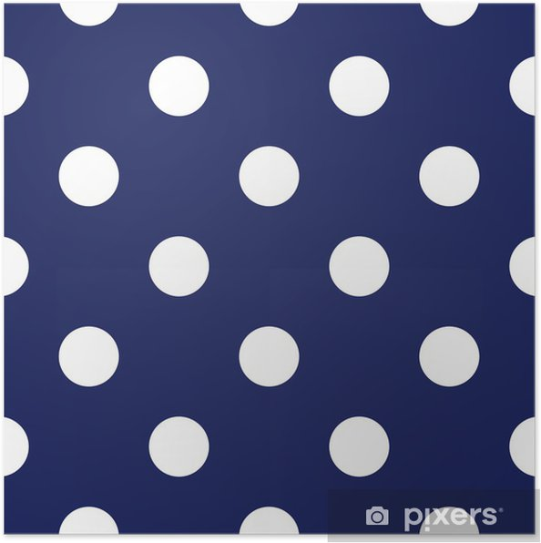 Poster Vector Seamless Con Pois Su Sfondo Blu Navy Pixers