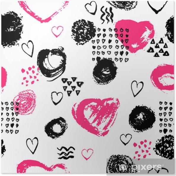Poster Vector Seamless Con Strisce Di Pennello E Tratti Colore Rosa