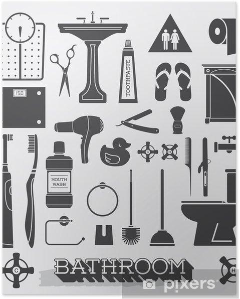 Poster Vector Set: Badezimmer Icons und Silhouetten • Pixers® - Wir ...