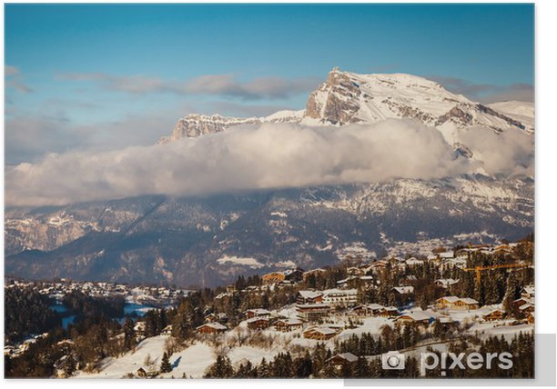 Poster Veduta aerea sulla stazione sciistica di Megève in Alpi francesi, Francia - Vacanze