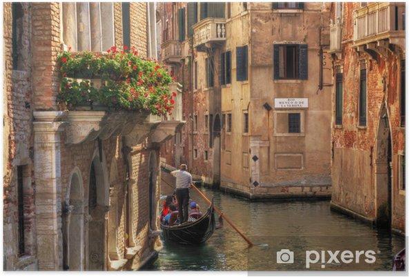 Poster Venezia, Italia. Gondola su un romantico canale. - Temi