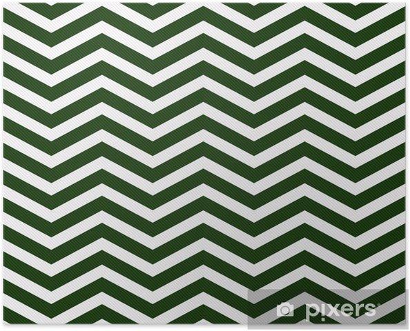 Poster Verde Scuro E Sfondo Bianco Zigzag Tessuto Tessuto Pixers