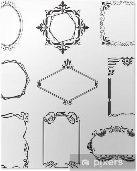 Poster Verschiedene schöne Rahmen im Stil Jugendstil - Vorlagen