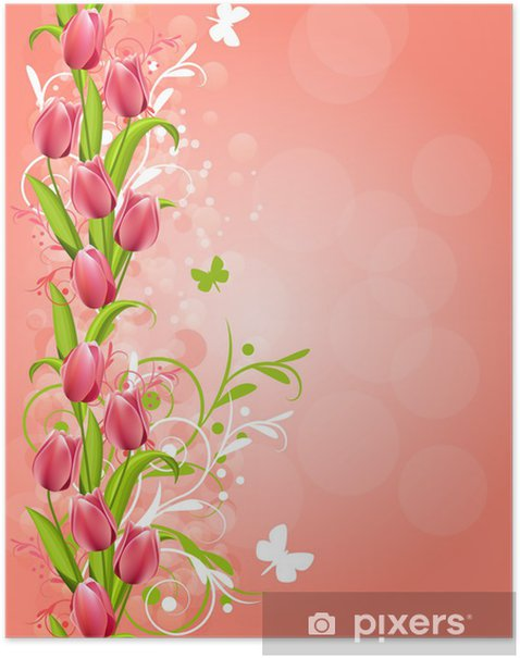 Poster Vertikale rosa Frühling Hintergrund mit Tulpen und Schnörkel - Hintergründe
