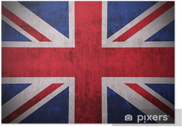Poster Verwitterten Flagge Großbritannien, Stoff texturierten - Themen