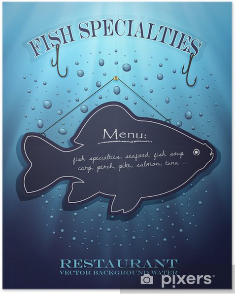 Poster Vettore Lavagna Menu Del Ristorante Di Pesce Acqua Blu Gocce