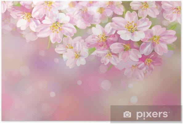 Poster Vettoriale Di Albero Di Primavera In Fiore Su Sfondo Rosa Bokeh