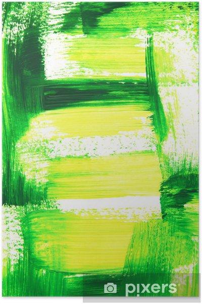 Poster Vibrant Pennellate Verde E Giallo Sfondo Dipinta A Mano