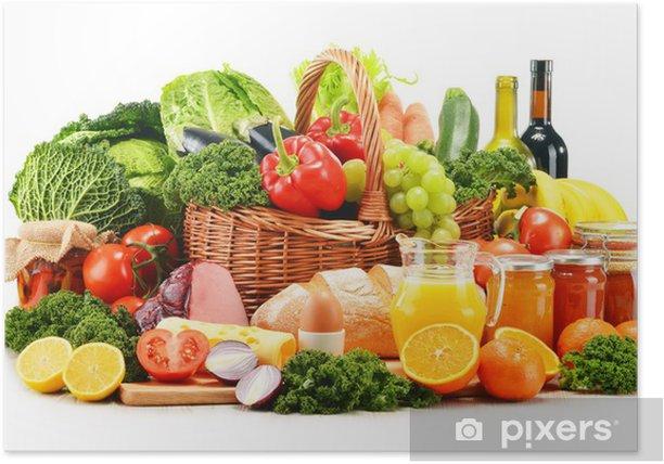 Poster Vielzahl von organischen Lebensmittelprodukte auf weißem - Gemüse