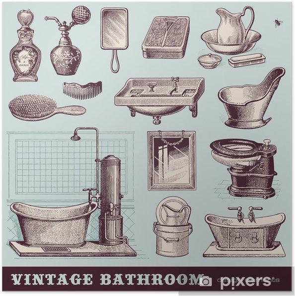 Poster Vintage Badezimmer Mobel Und Accessoires Pixers Wir