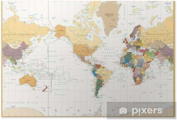 Weltkarte Poster Vintage poster vintage-color map amerika centered politische weltkarte