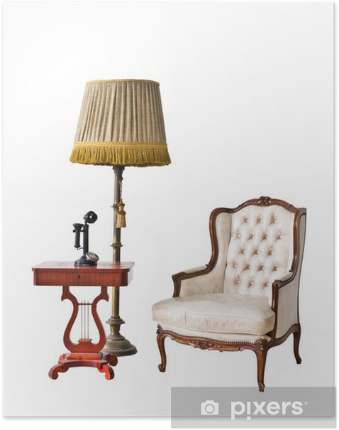 Poster Vintage Sessel und Telefon mit Clipping-Pfad - Haus und Garten