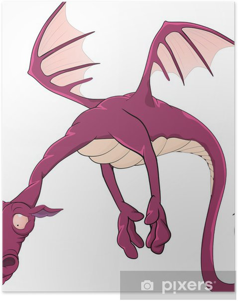 Poster Violet Drachen aus einem Märchen - Wandtattoo