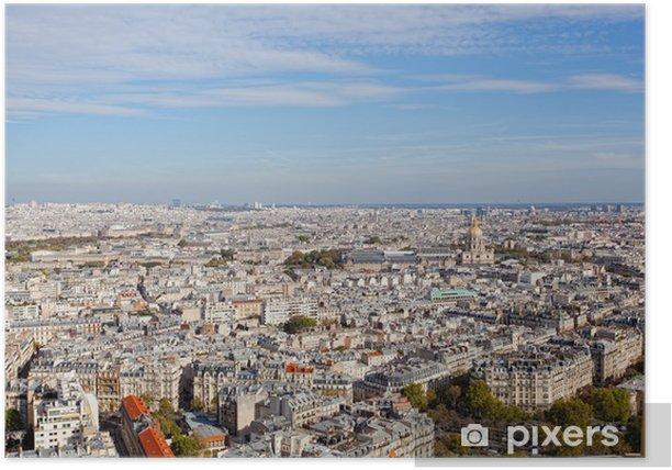 Poster Vista di Parigi da un'altezza di volo di uccello - Urbano