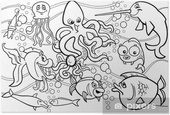 Poster Vita Da Colorare Gruppo Gli Animali Del Mare Pixers