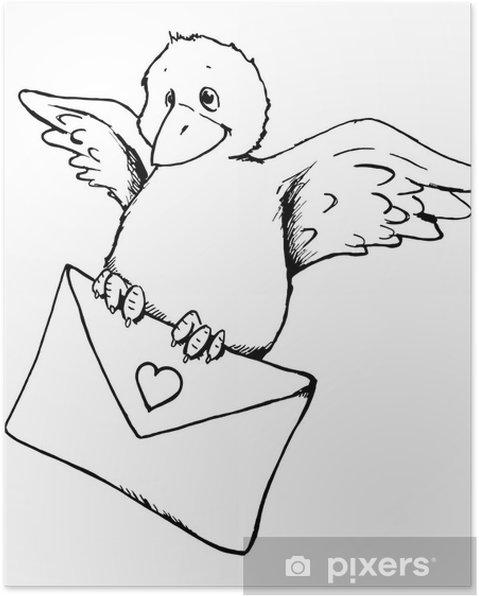 Poster Vogel Liebesbrief Brief Nachricht Valentinstag Pixers