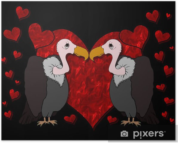 Poster Vultures in Love Cartoon - Internationale Feste