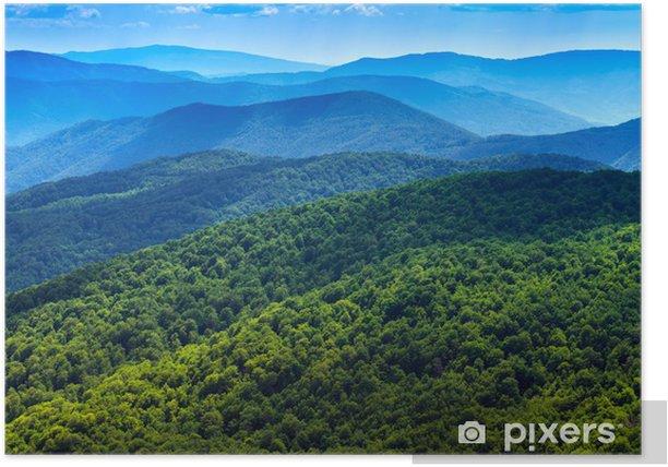 Poster Wald in Karpaten Landschaft. Gebirgspanorama Hintergrund. - Naturwunder