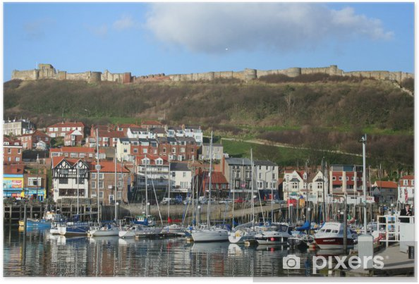 Poster Waterfront Ansicht von Scarborough in Yorkshire Großbritannien - Europa