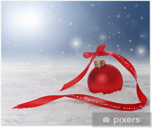Frohe Weihnachten Band.Poster Weihnachten Hintergrund Mit Roten Christbaumschmuck Und Frohe Weihnachten Band