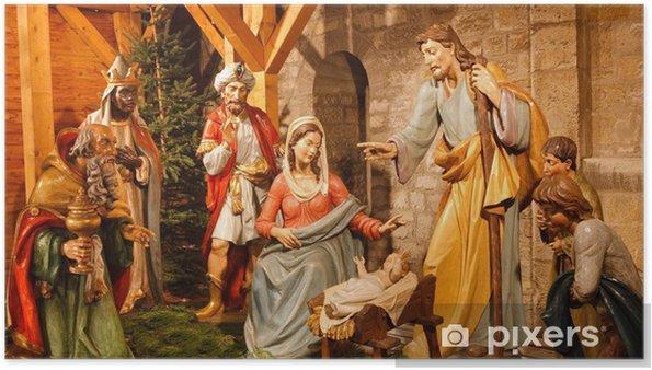 Weihnachten Krippe Bilder.Poster Weihnachten Krippe Jesus Maria Joseph