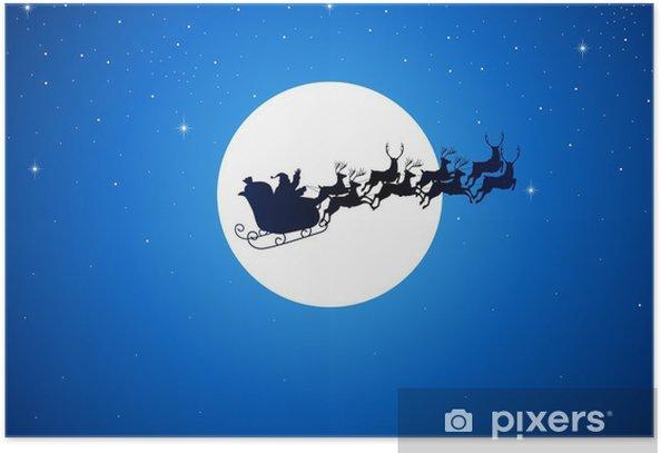 Poster Weihnachtsmann-Reiten seinem Schlitten über den Mond - Themen