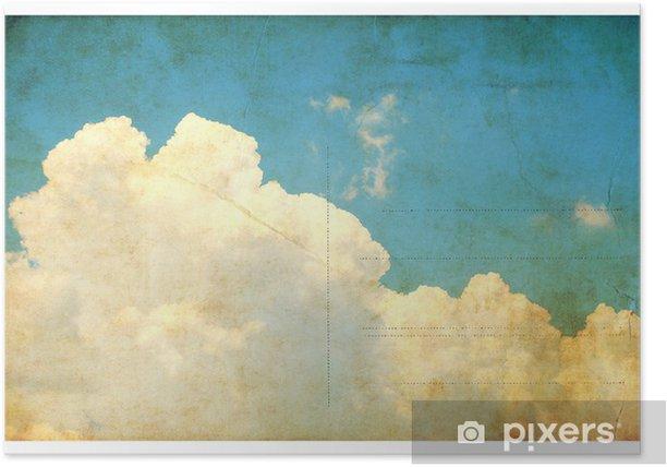 Poster Weinlese-Himmel und Wolken, Retro-Postkarte isoliert - Texturen