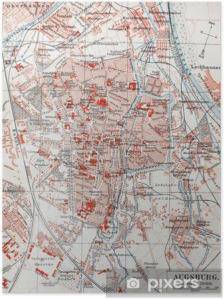 Karte Augsburg.Poster Weinlese Karte Von Augsburg