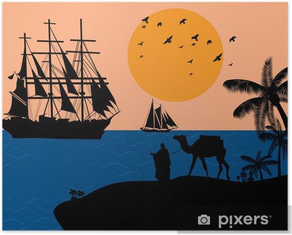 Poster Weinlese-Segelboot - Hintergründe