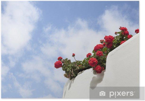 Poster Weiß Kalk-Balkon mit roten Geranien. - Haus und Garten