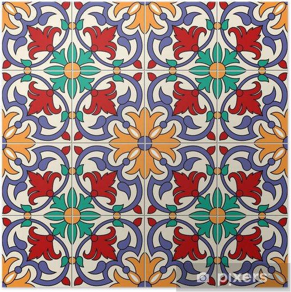 Poster Weiße bunte marokkanische, portugiesische Fliesen des herrlichen  nahtlosen Musters, Azulejo, Verzierungen. kann für Tapeten,  Musterfüllungen, ...
