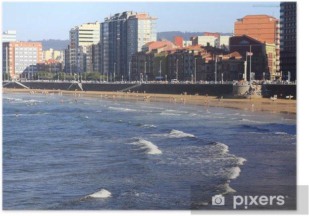 Poster Weißer Sandstrand in der Stadt Gijon, Spanien - Stadt