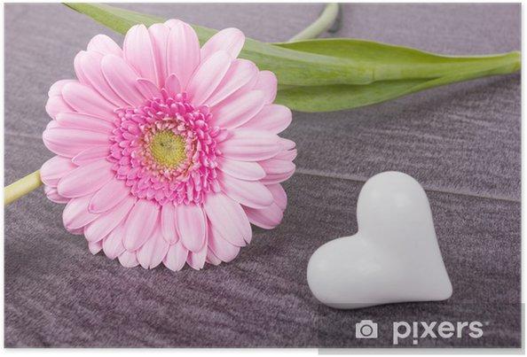 poster weisses herz mit rosa gerbera auf steinboden pixers wir leben um zu ver ndern. Black Bedroom Furniture Sets. Home Design Ideas