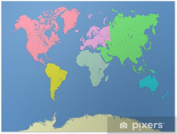 Karte Kontinente Welt.Poster Welt Und Kontinente Karte