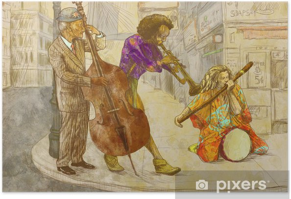 Poster Wenig seltsam Band - Handzeichnung - Entertainment
