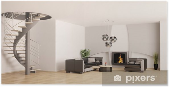 Poster Wohnzimmer mit treppe und kamin 3d