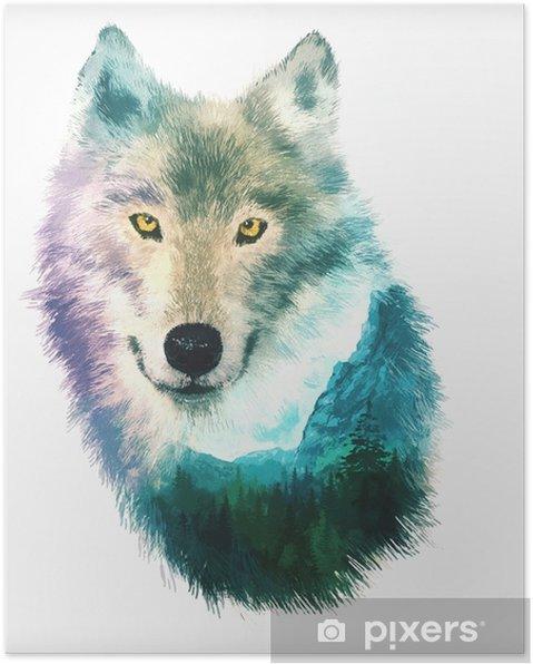 Poster Wolf Doppelbelichtung Abbildung - Tiere