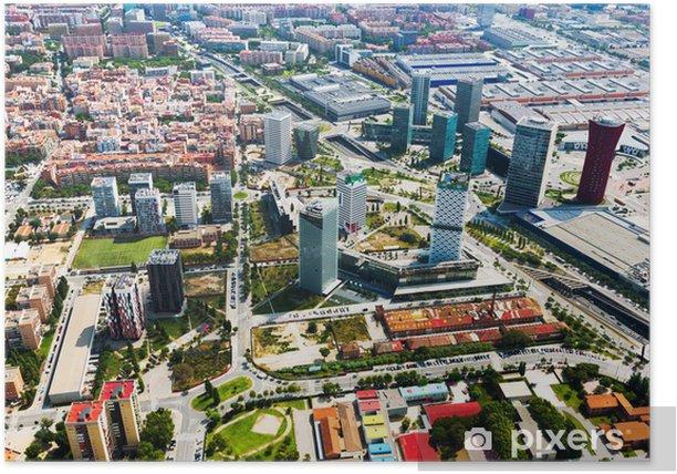 Poster Wolkenkratzer in Sants-Montjuic Bezirk. Barcelona - Stadt