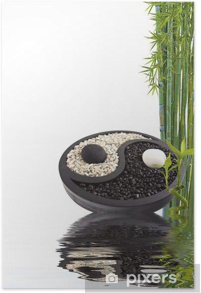 Poster Yin-Yang-bien-être bambou - Zeichen und Symbole