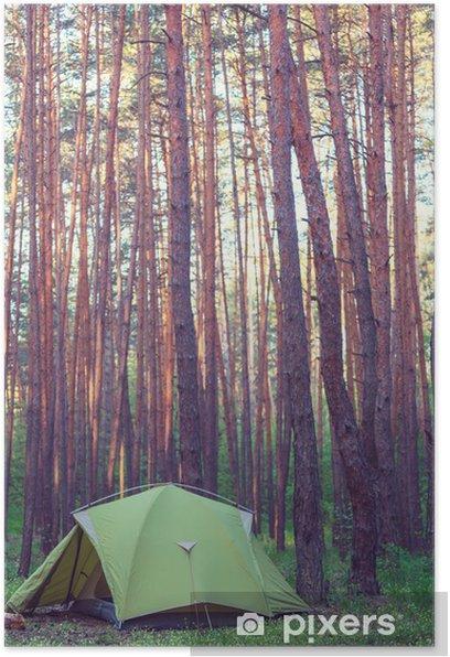 Poster Zelt im Wald - Urlaub