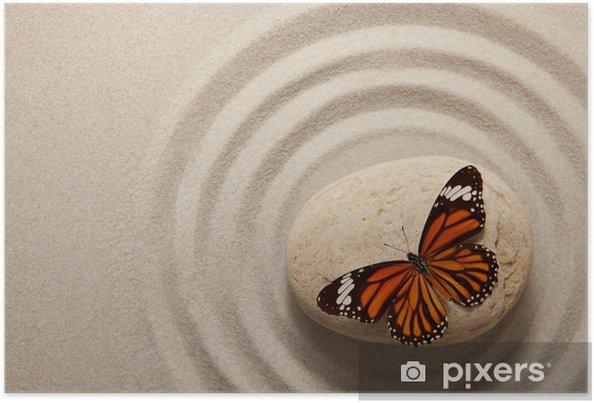 Poster Zen Stein mit Schmetterling - Themen
