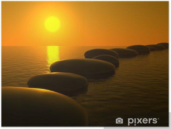 Poster Zen Steine Im Wasser Sonnenuntergang Pixers Wir