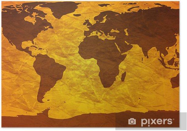 Poster Zerknitterten Weltkarte - Themen